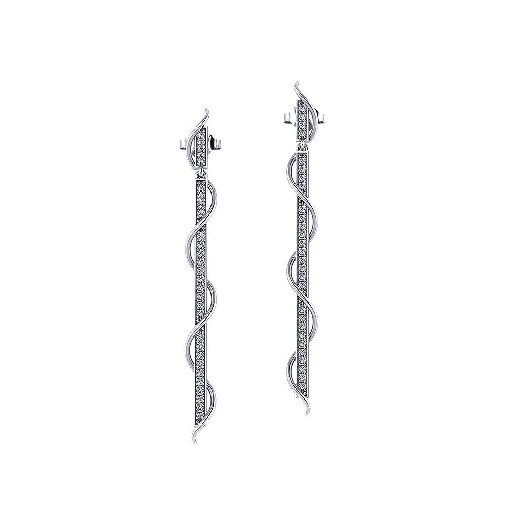 Spiral Diamond Dangle Earrings