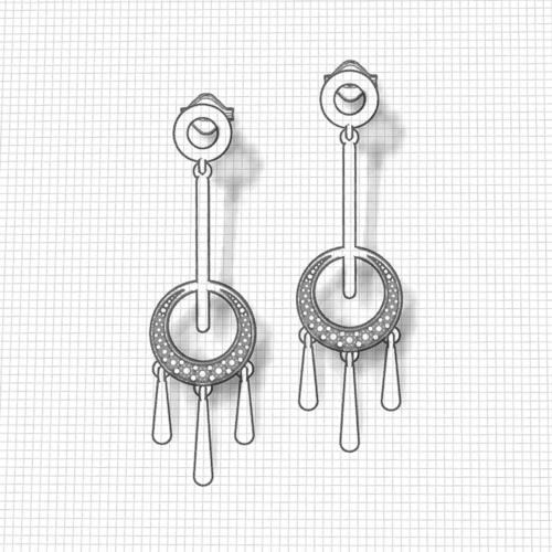 Diamond Circle Tassel Earrings