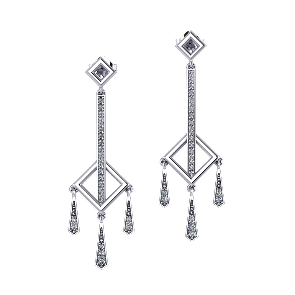 Diamond Square Dangle Earrings