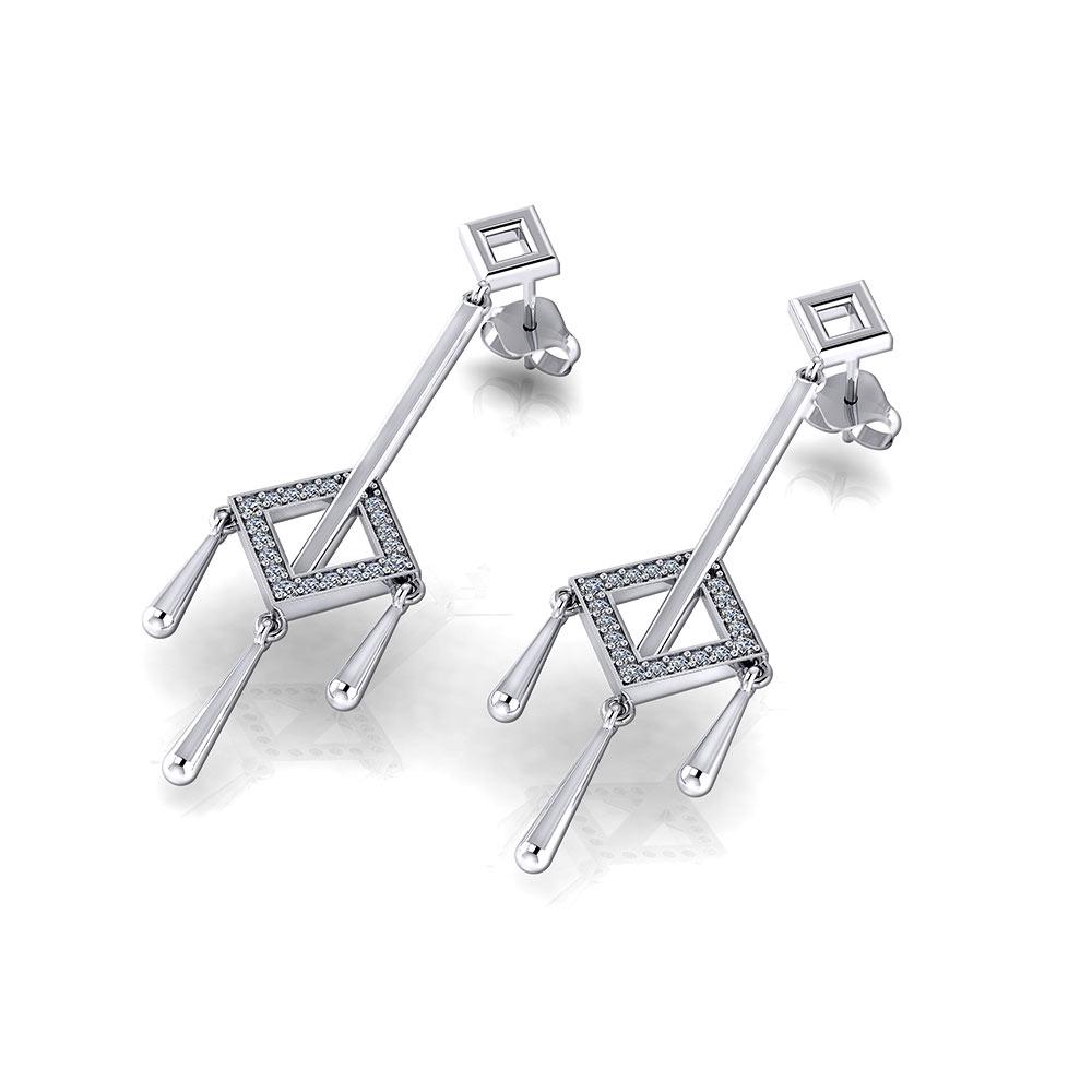 Square Diamond Tassel Earrings
