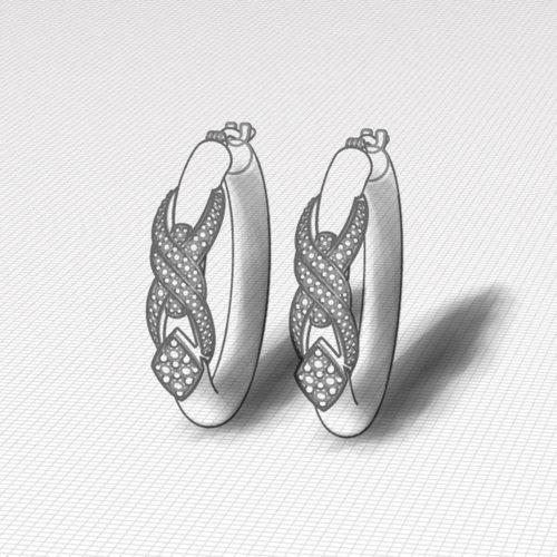 Crossover Diamond Hoop Earrings