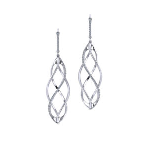Spiral Diamond Drop Earrings