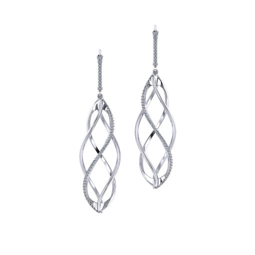 Spiral Diamond Drop Earrings