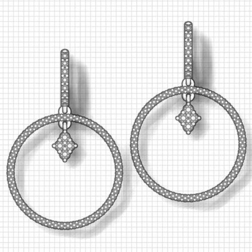 Double Diamond Hoop Earrings