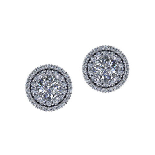 $6140 Double Halo Diamond Earrings