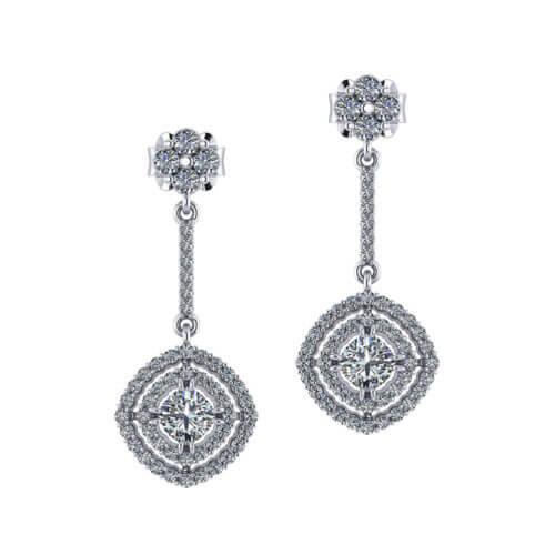 Drop Double Halo Diamond Earrings
