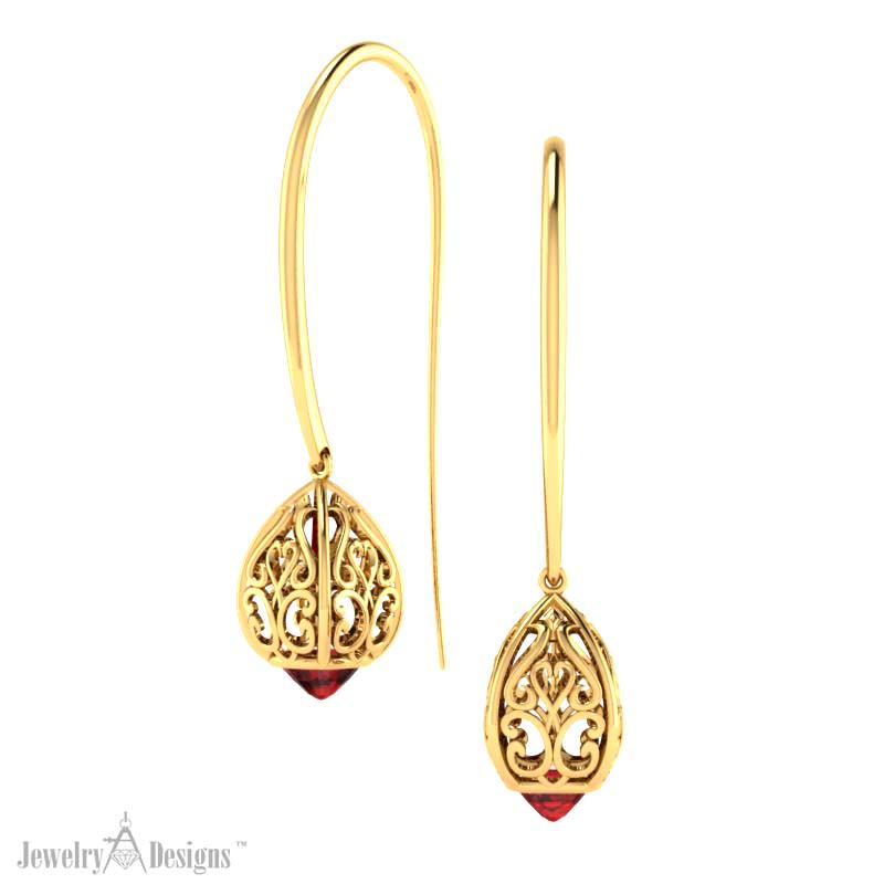 EK100-gar2 Filigree Drop Earrings