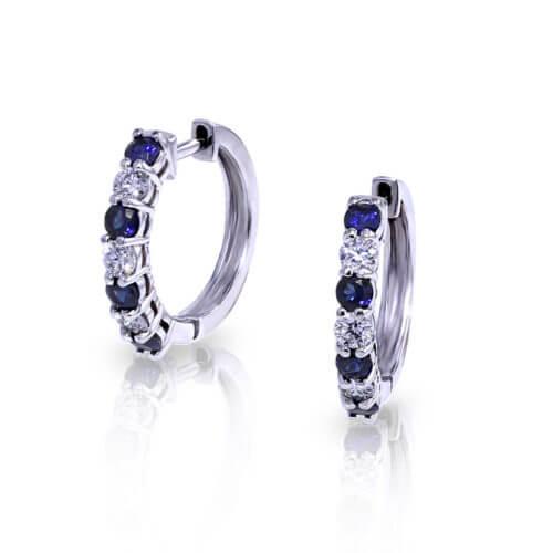 Sapphire Diamond Hoop Earrings