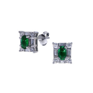 Emerald and Baguette Earrings