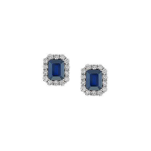 EP141-1-Emerald Cut Sapphire Earrings