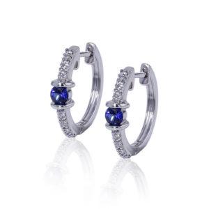 Diamond Sapphire Hoop Earrings