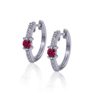 Ruby Diamond Hoop Earrings