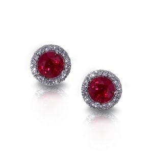 Halo Ruby Earrings