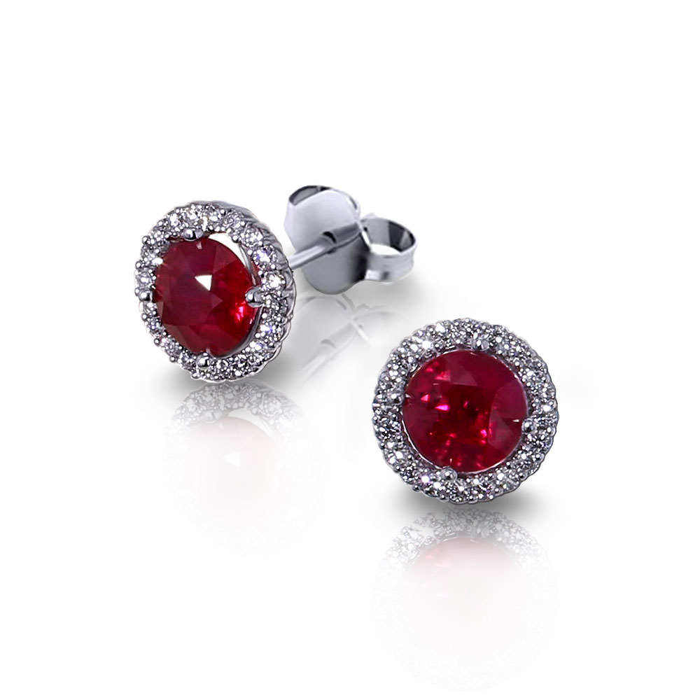 Halo Ruby Earrings