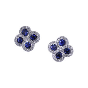 Sapphire Diamond Cluster Earrings