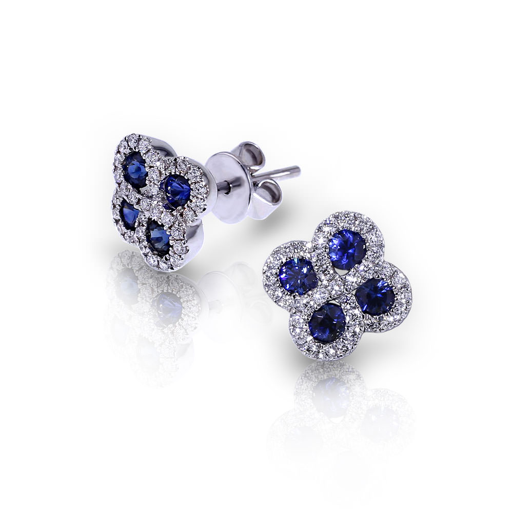Sapphire Diamond Cluster Earrings Jewelry Designs