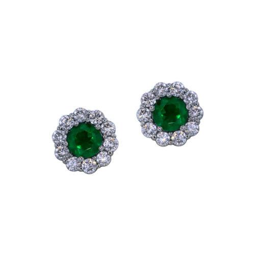 Halo Emerald Earrings