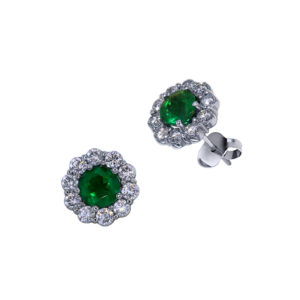 Halo Emerald Earrings