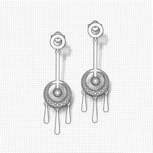 Ruby Diamond Circle Earrings