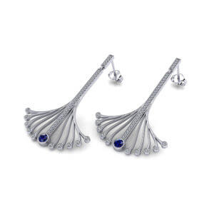 Long Sapphire Spray Earrings