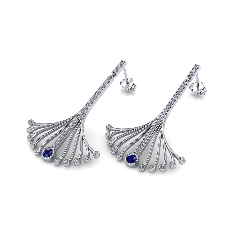 Long Sapphire Spray Earrings