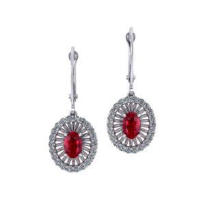 Ruby Diamond Dangle Earrings