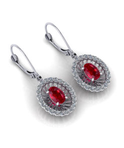Ruby Diamond Dangle Earrings