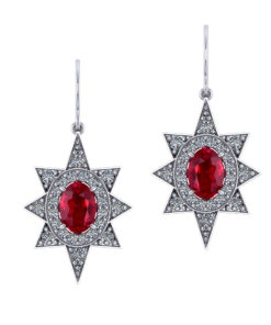 Star Halo Diamond Ruby Earrings
