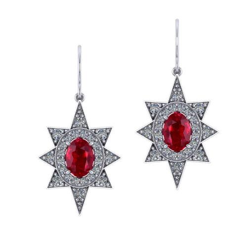 Star Halo Diamond Ruby Earrings