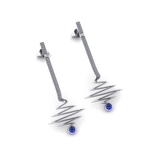 Zig Zag Sapphire Dangle Earrings