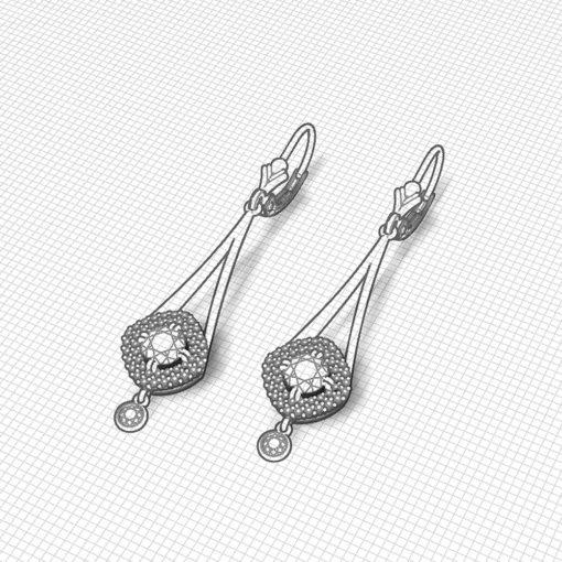 Dangle Ruby Diamond Earrings
