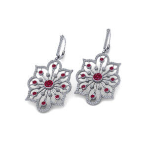 Diamond Ruby Spray Earrings