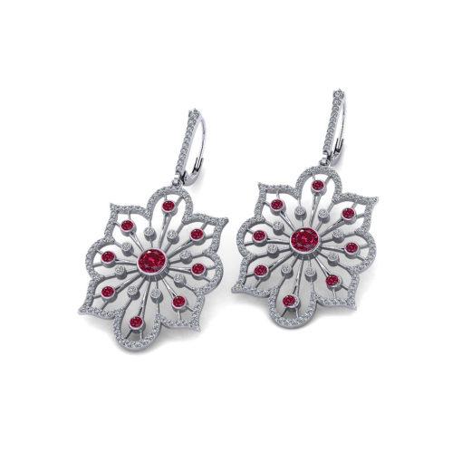 Diamond Ruby Spray Earrings