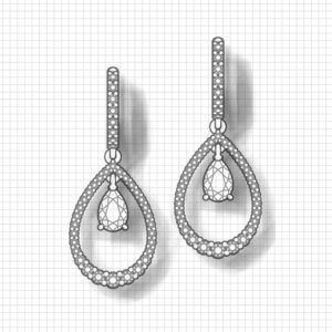 Teardrop Ruby Diamond Earrings