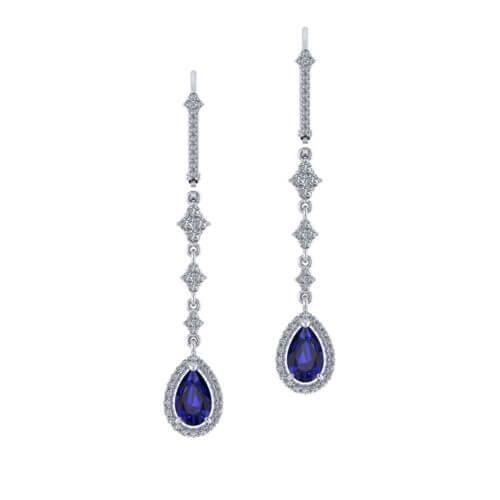 Long Sapphire Drop Earrings