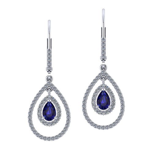Double Halo Sapphire Earrings
