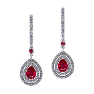 Ruby Double Halo Earrings