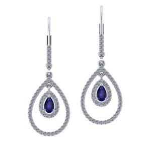 Drop Diamond Sapphire Earrings