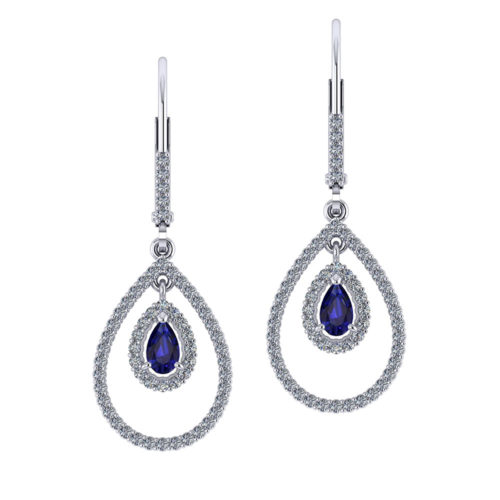 Drop Diamond Sapphire Earrings