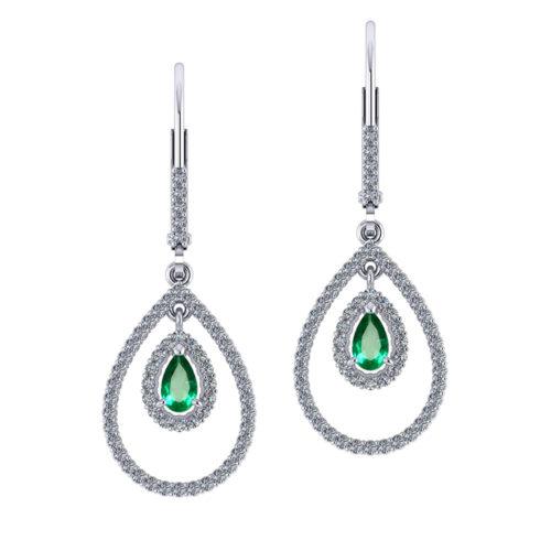 Drop Diamond Emerald Earrings