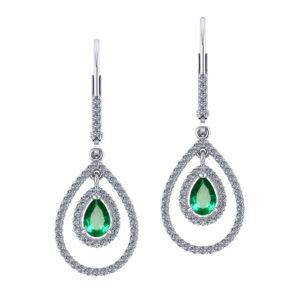 Double Halo Emerald Earrings