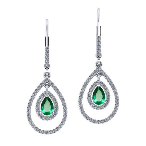 Double Halo Emerald Earrings