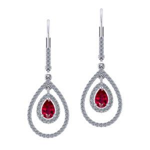 Double Halo Ruby Earrings