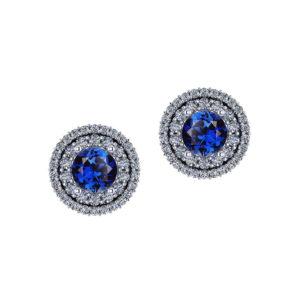 Sapphire Double Halo Earrings