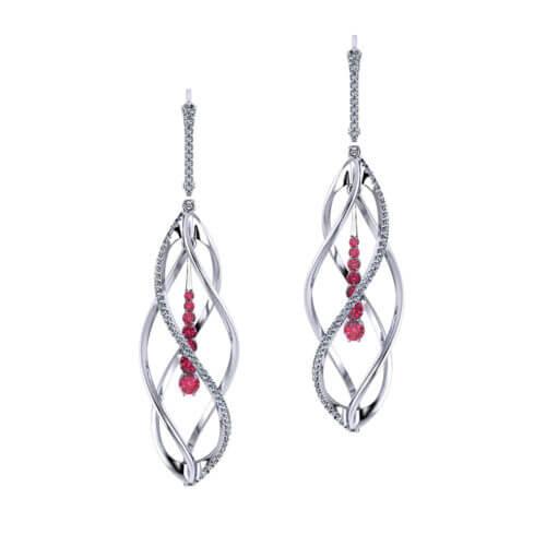 Helix Diamond Ruby Earrings