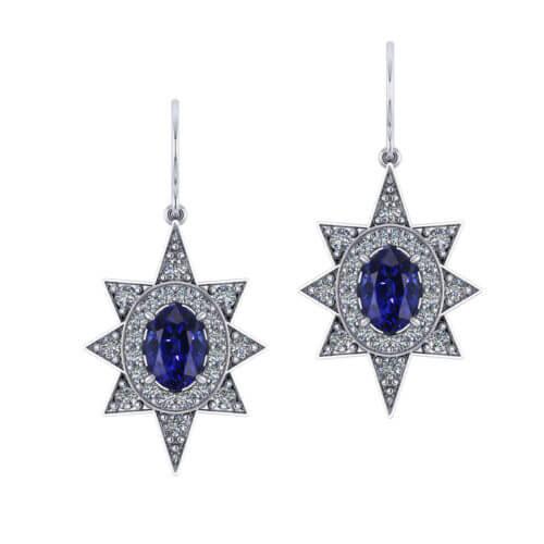 Star Halo Diamond Sapphire Earrings