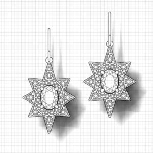 Star Halo Diamond Sapphire Earrings