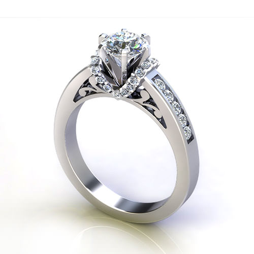 Scrolled Channel Engagement Ring