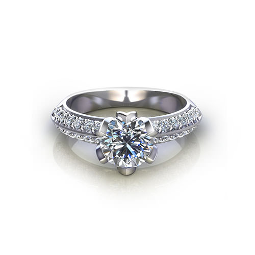 Tulip Set Engagement Ring