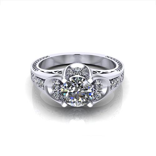 Art Deco Buttercup Engagement Ring